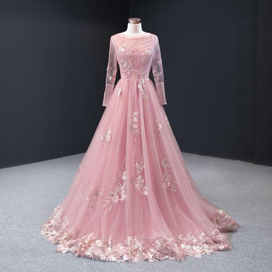 High End Pink Abendkleider 2020 A Linie Rundhalsausschnitt Lange Armel Blumen Applikationen Spitze Perlenstickerei Lange Ruckenfreies