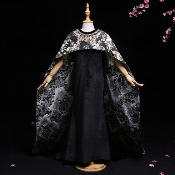 Chic / Belle Noir 2 Pièces Robe Ceremonie Fille 2017 Trompette / Sirène Encolure Dégagée Sans Manches Train De Balayage Robe Pour Mariage