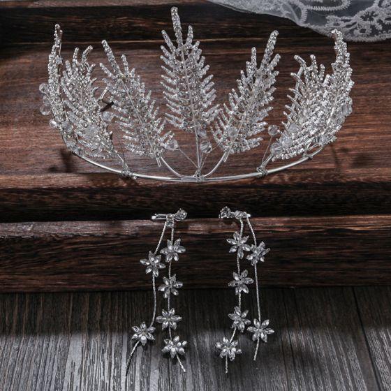 Mooie / Prachtige Zilveren Huwelijk Accessoires 2020 Legering Rhinestone Tiara Kwast Oorbellen Bruidssieraden