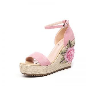 Mooie / Prachtige Tuin / Outdoor Sandalen Dames 2017 PU Vlecht Geborduurde Peep Toe Sleehakken Sandalen
