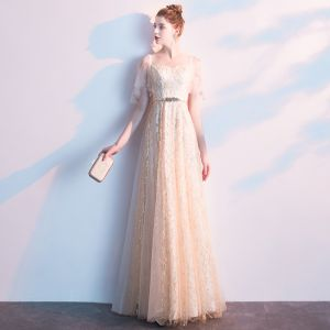 Charming Champagne Evening Dresses  2019 A-Line / Princess Square Neckline Sequins Sash Short Sleeve Backless Floor-Length / Long Formal Dresses