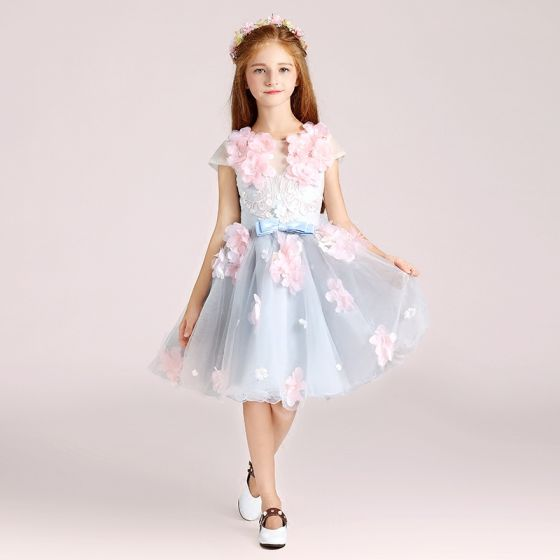 Flower Fairy Sky Blue Flower Girl Dresses 2017 Ball Gown Scoop Neck Cap Sleeves Appliques Flower Bow Short Ruffle Wedding Party Dresses