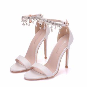 Sexy White Wedding Shoes 2018 Pearl Rhinestone Tassel Ankle Strap 11 cm Stiletto Heels Open / Peep Toe Wedding High Heels
