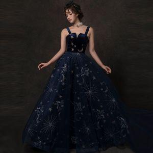 Sternenklarer Himmel Marineblau Ballkleider 2019 A Linie Schultern Ärmellos Glanz Tülle Lange Rüschen Rückenfreies Festliche Kleider