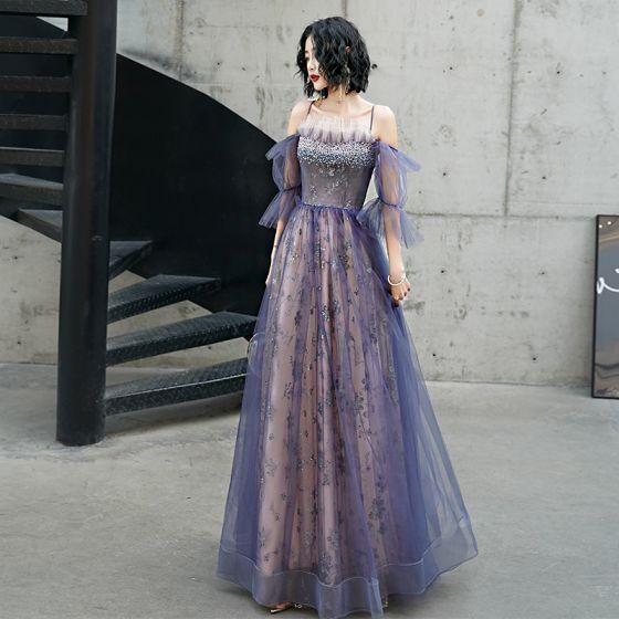 Uroczy Fioletowe Sukienki Wieczorowe 2020 Suknia Balowa Princessa Spaghetti Pasy Frezowanie Z Koronki Cekiny Kwiat Kótkie Rękawy Bez Pleców Długie Sukienki Wizytowe