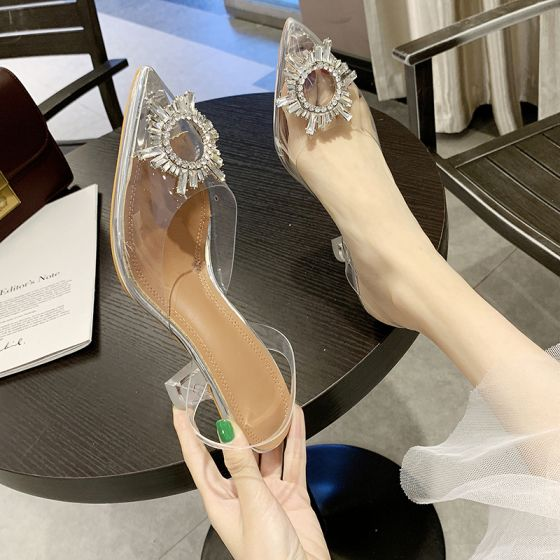 Rimelig Sølv Casual Sandaler Dame 2019 Krystall Rhinestone 8 cm Stiletthæler Spisse Sandaler