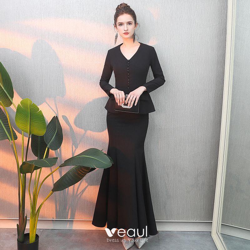 sale retailer f3786 56b7d Schlicht Schwarz Abendkleider 2019 Meerjungfrau V-Ausschnitt ...