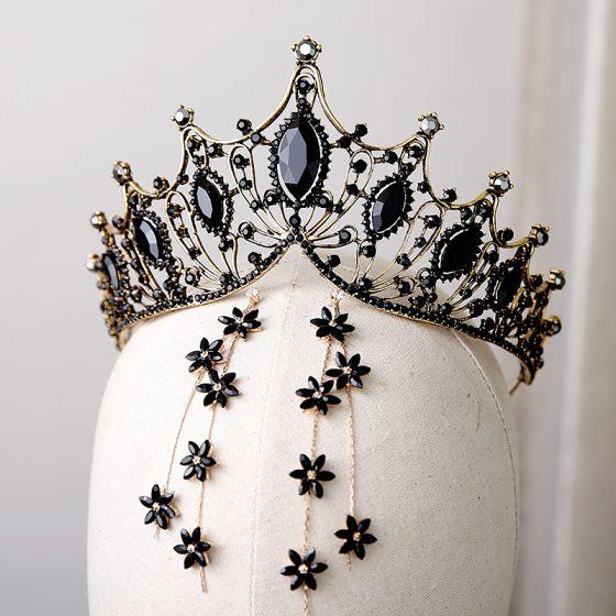 Vintage Barock Svarta Kristall Guld Metall Tiara 2019 Legering Tassel Örhängen Brudsmycken