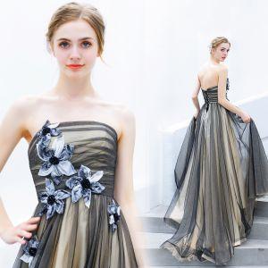Chic / Beautiful Black Evening Dresses  2019 A-Line / Princess Strapless Beading Appliques Sleeveless Backless Floor-Length / Long Formal Dresses
