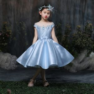 chic/beautiful church wedding party dresses 2017 flower girl dresses sky blue ball gown knee length scoop neck backless short