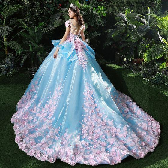 Maravilloso Azul Vestidos De Novia 2017 Scoop Escote Manga Corta Sin Espalda Apliques Rosa Clara Flor Organza Ruffle Ball Gown Chapel Train