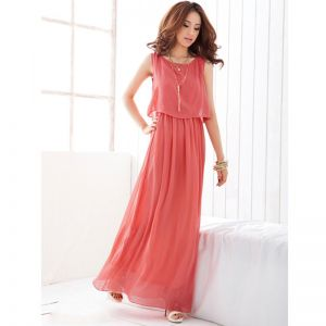 Modest / Simple Watermelon Chiffon Summer Maxi Dresses 2018 Sheath / Fit Scoop Neck Sleeveless Ankle Length Ruffle Womens Clothing