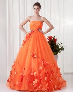 Fascinating Strapless Floor Length Flowers Pleated Tulle Women Prom Dress