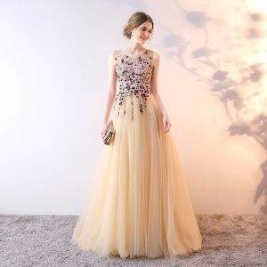 Elegant Champagne Evening Dresses  2019 A-Line / Princess Scoop Neck Crystal Pearl Lace Flower Sleeveless Sweep Train Formal Dresses