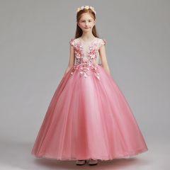 Blumenfee Pink Blumenmädchenkleider 2019 A Linie Rundhalsausschnitt Ärmel Applikationen Spitze Blumen Perle Lange Rüschen Kleider Für Hochzeit