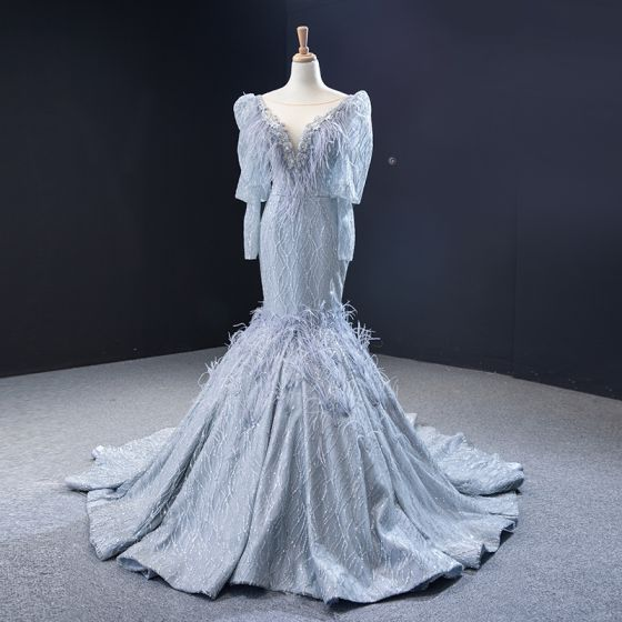 Luxury / Gorgeous Grey Evening Dresses  2020 Trumpet / Mermaid See-through Deep V-Neck Puffy Long Sleeve Feather Beading Glitter Tulle Court Train Ruffle Backless Formal Dresses