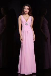 2015 Zarten Schönen A-linie Langen Rosa Abendkleid