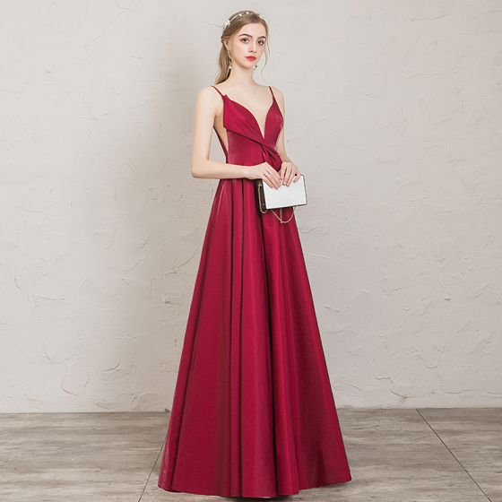Classy Burgundy Evening Dresses  2019 A-Line / Princess Spaghetti Straps Sleeveless Backless Floor-Length / Long Formal Dresses