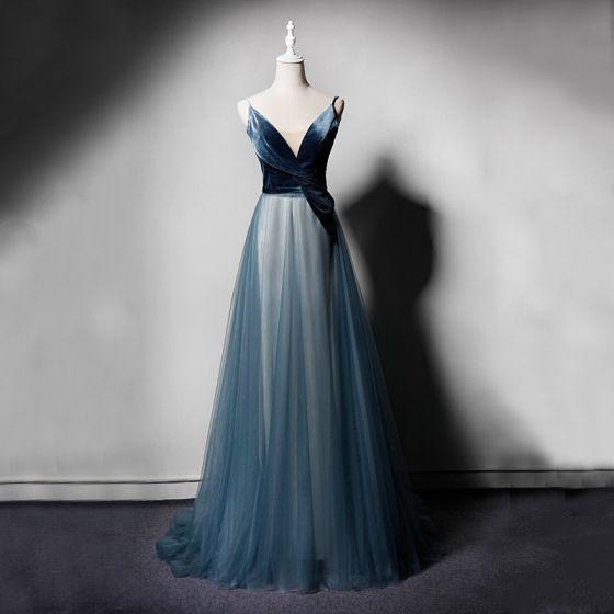 Hermoso Azul Tinta Vestidos de noche 2019 A-Line / Princess Spaghetti Straps V-Cuello Sin Mangas Largos Ruffle Sin Espalda Vestidos Formales