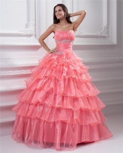 Ball Gown Sleeveless Organza Embroidery Ruffles Sashes Sweetheart Floor Length Quinceanera Prom Dresses