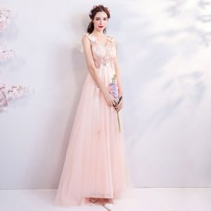 Chic / Beautiful Blushing Pink 2018 Evening Dresses  V-Neck Tulle A-Line / Princess Floor-Length / Long Summer Beading Butterfly Appliques Backless Evening Party Formal Dresses