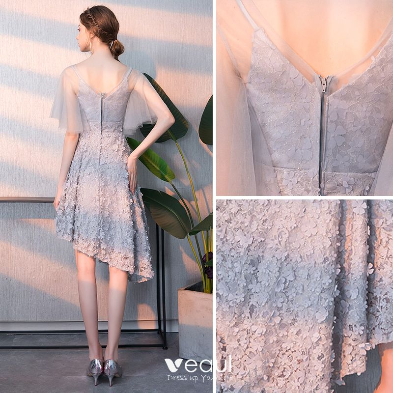 Chic / Beautiful High Low Grey Homecoming Graduation Dresses 2018 A-Line / Princess Appliques V-Neck Backless 1/2 Sleeves Short Formal Dresses