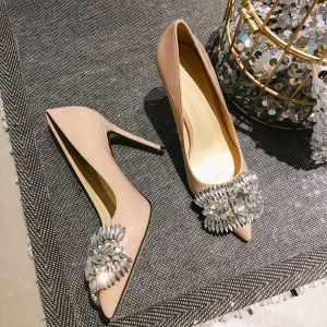 Piękne Ecru Wieczorowe Czółenka 2019 Kryształ Rhinestone 8 cm Szpilki Szpiczaste Czółenka