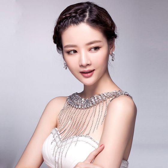 Luxury Rhinestone Tassel Shoulder Chain For Wedding Jewelry
