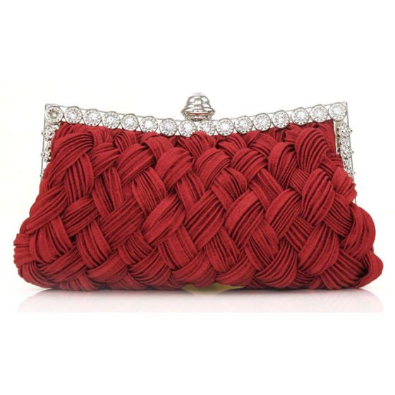 2015 6 Colors Classic Woven Bag Banquet Bride Clutch Evening Bags