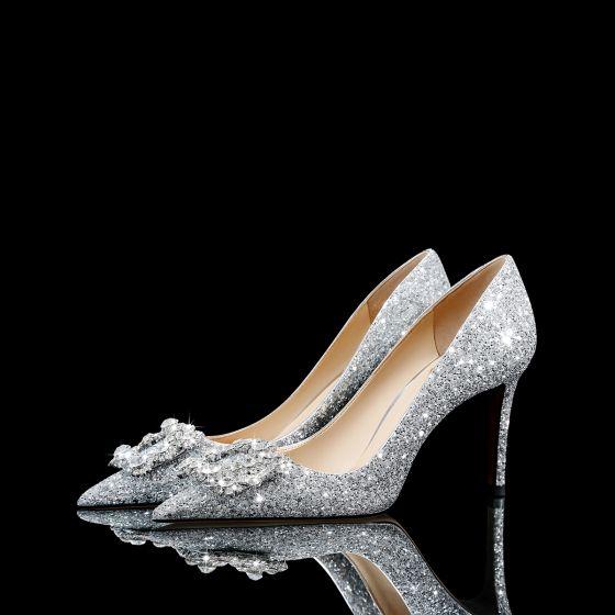 Glitzernden Silber Glanz Strass Pailletten Brautschuhe 2021 Leder 8 cm Stilettos Spitzschuh Hochzeit Pumps Hochhackige