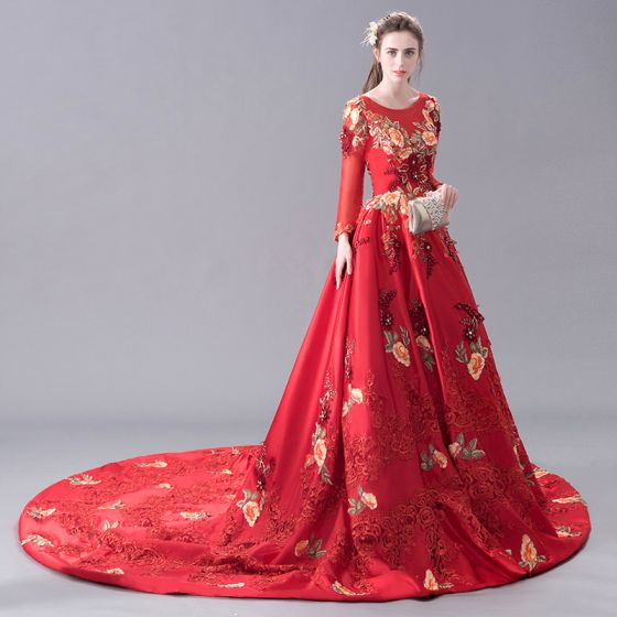 Luxury / Gorgeous Red Evening Dresses  2017 A-Line / Princess U-Neck Lace Charmeuse Handmade  Beading Embroidered Backless Evening Party Prom Dresses