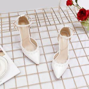 Elegant Ivory Brudesko 2020 Perle Ankel Strop Med Blonder Blomsten 9 cm Stiletter Spidse Tå Bryllup Sandaler