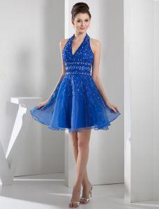 Sexy V-cou Halter Perles Écharpe De Paillettes Robe De Cocktail Bleu