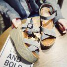 Red Black Grey Outdoor / Garden Summer Suede Mid Heels Thick Heels Sandals 8 cm / 3 inch Open / Peep Toe Affordable 2017 Womens Sandals