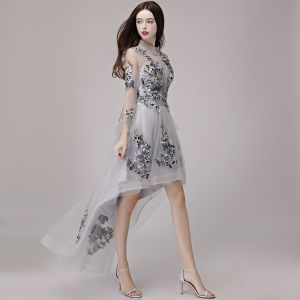 High Low Grey See-through Summer Cocktail Dresses 2018 A-Line / Princess High Neck Long Sleeve Appliques Lace Asymmetrical Ruffle Formal Dresses