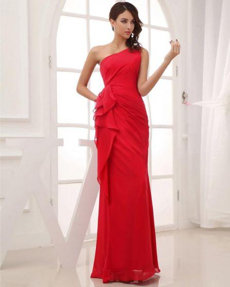Silk Som Satin Chiffong Silke Rufsa Sluttande Golv Langd Plisserad Festklänningar