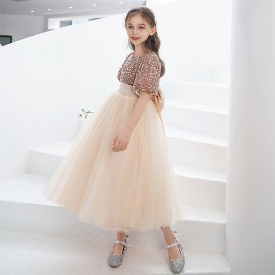 Mode Guld Paljetter Korta Födelsedag Brudnäbbsklänning 2021 Prinsessa Urringning Rosett Skärp Korta ärm