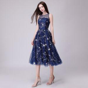 Hermoso Marino Oscuro de fiesta Vestidos de graduación 2018 A-Line / Princess Glitter Estrella Scoop Escote Sin Mangas Té De Longitud Vestidos Formales