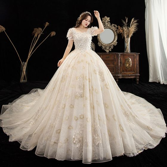Victorian Style Champagne Plus Size Wedding Dresses 2020 Ball Gown Square Neckline Puffy Short Sleeve Backless Appliques Lace Beading Chapel Train Ruffle