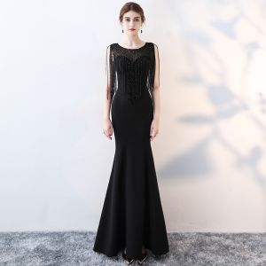 Chic / Beautiful Black Formal Dresses 2017 Trumpet / Mermaid Beading Scoop Neck Sleeveless Sweep Train Evening Dresses