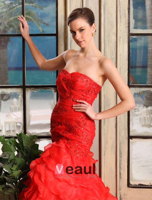 2015 Mermaid Sweetheart Sweep Train Organza Satin Wedding Dress With Cascading Ruffles