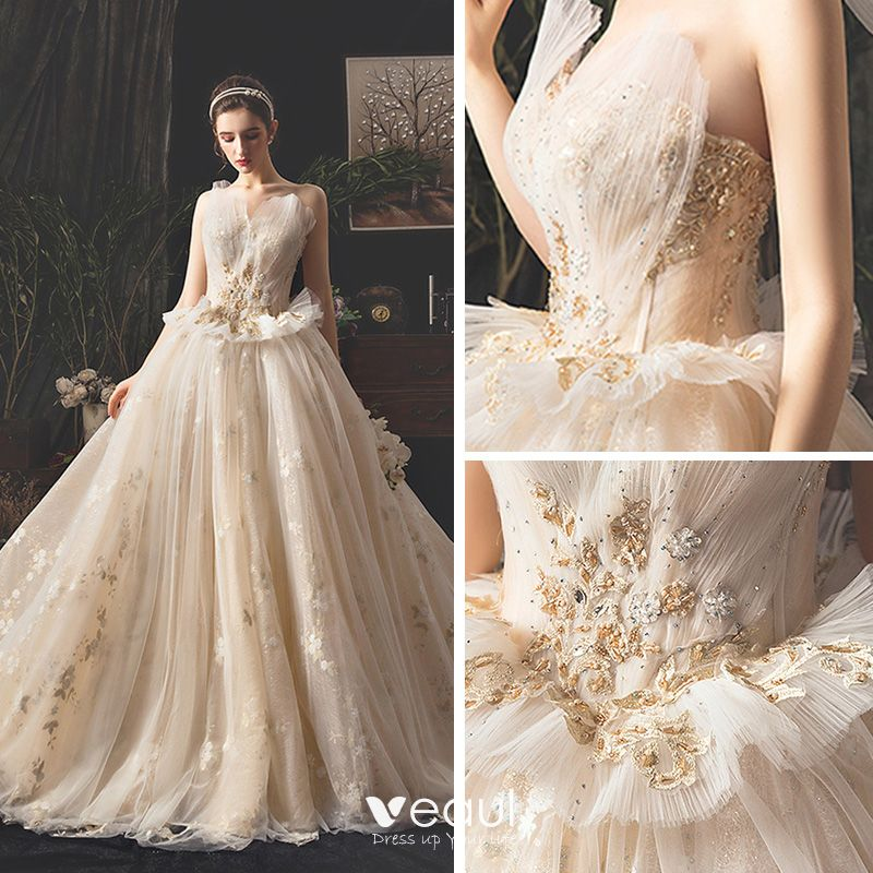 Classy Champagne Wedding Dresses 2019 Ball Gown Sweetheart Sleeveless Backless Appliques Flower Rhinestone Beading Glitter Tulle Cathedral Train Ruffle