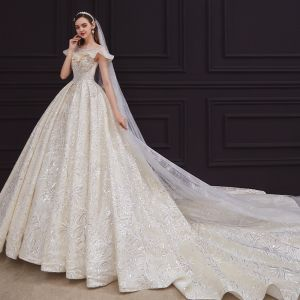 Vintage / Retro Champagne Bridal Wedding Dresses 2020 Ball Gown See-through Square Neckline Short Sleeve Backless Beading Appliques Lace Sequins Glitter Tulle Cathedral Train Ruffle