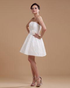 Satin Sicke Stickerei Kurzen Brautkleider Hochzeitskleid