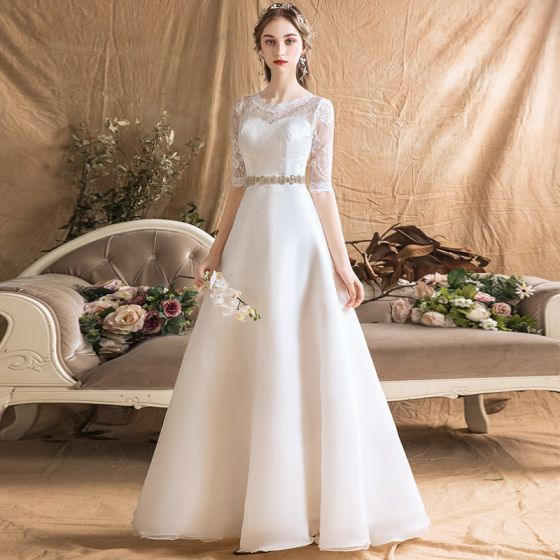 Modern / Fashion Ivory Chiffon Outdoor / Garden Wedding Dresses 2019 A-Line / Princess See-through Scoop Neck 1/2 Sleeves Backless Rhinestone Sash Floor-Length / Long Ruffle