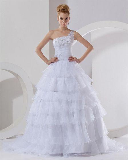 Organza Ein Schultergurt Kapelle A-linie Hochzeitskleid Brautkleider