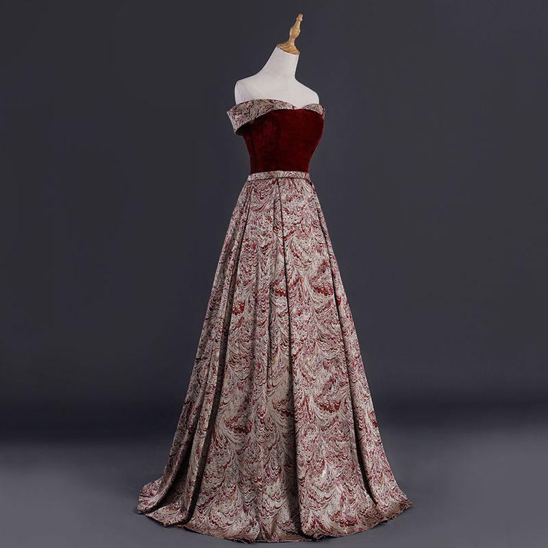 Best Burgundy Suede Jacquard Evening Dresses  2019 A-Line / Princess Off-The-Shoulder Short Sleeve Sash Floor-Length / Long Backless Formal Dresses
