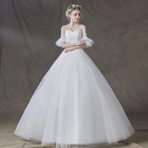 Elegant Ivory Wedding Dresses 2018 Ball Gown Beading Sequins Sweetheart Backless Short Sleeve Floor-Length / Long Wedding