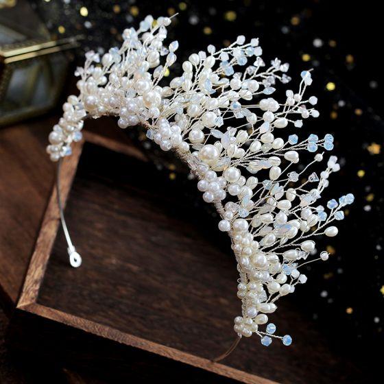 Elegant Ivory Hårpynt 2019 Legering Perle Krystal Tiara Bryllup Accessories