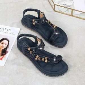 Bohemia Navy Blue Beach Slipper & Flip flops 2020 Rhinestone Ankle Strap Open / Peep Toe Flat Womens Shoes